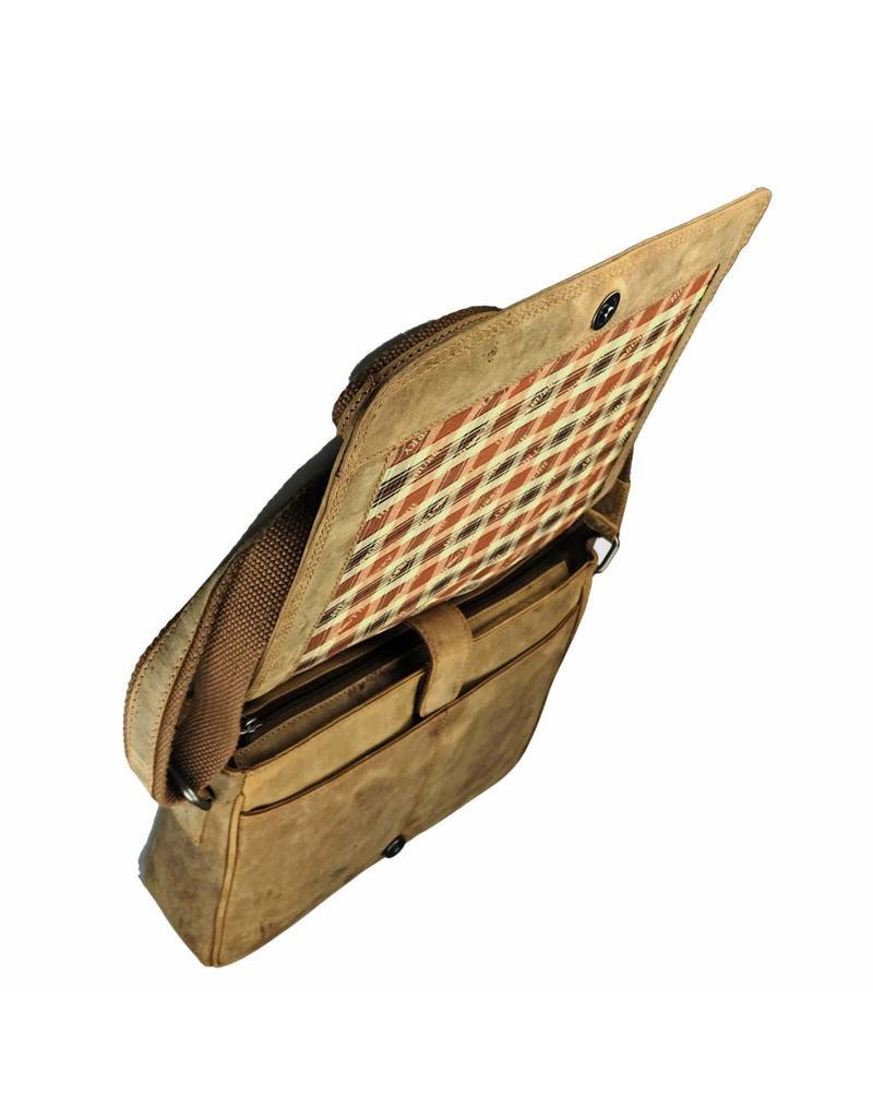 Hill Burry Vintage Leder Männer Frauen Schultertasche Überschlag