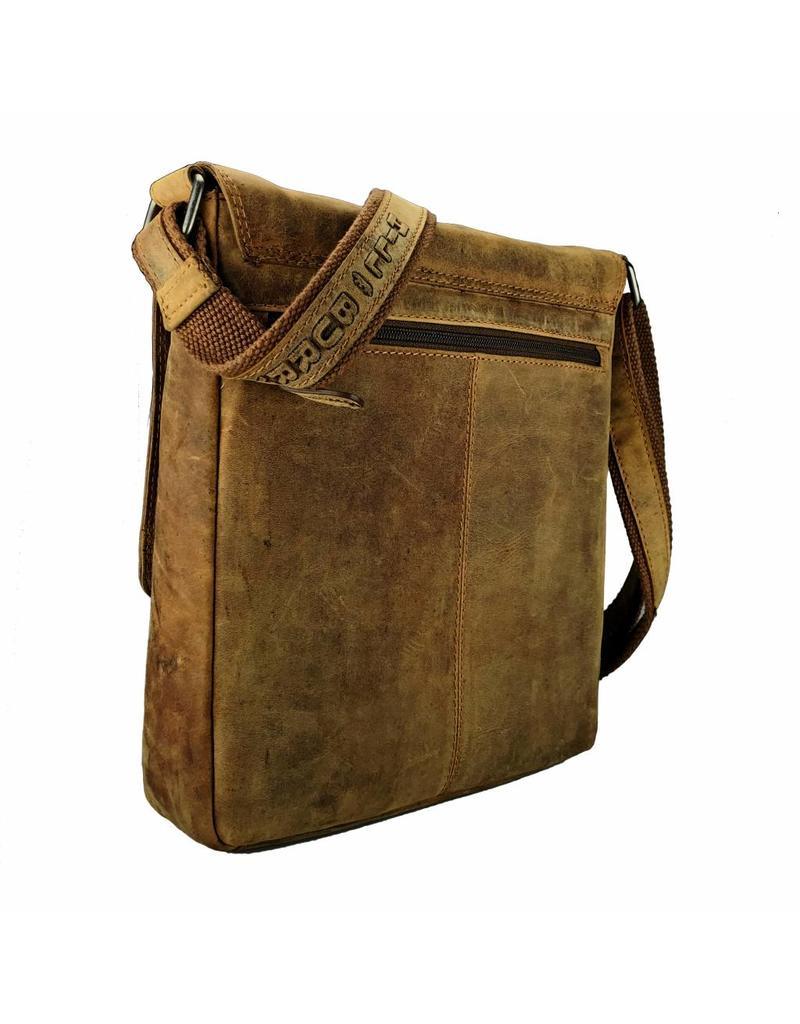 Hill Burry Vintage Leder Männer Frauen Schultertasche Überschlag Hochformat Braun
