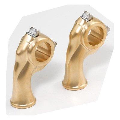 """Kustom Tech 2.5"""" Satin Brass Deluxe Risers met 1"""" pullback"""
