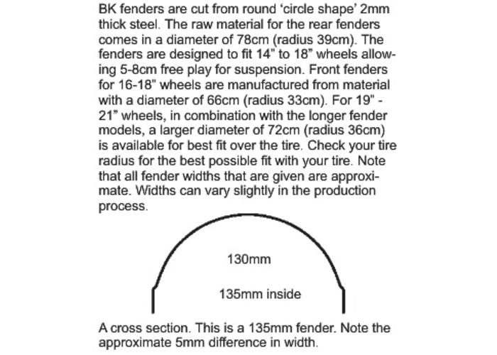BK Products 190 - 380MM MEDIUM Stiletto Achterspatbord Staal