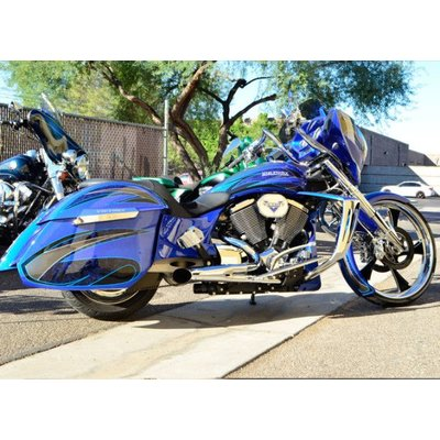 Trask 2 Into 1 Chrome Hotrod Exhaust Victory Bagger/Touring