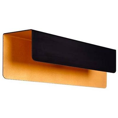 Wall light black gold rectangular 2xG9 down 340mm wide