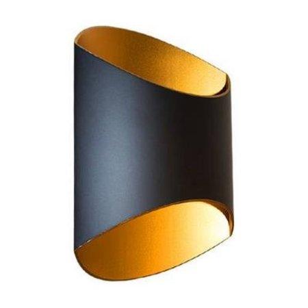 Applique murale dorée noire design ovale 250mm haut G9