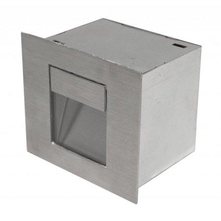 Wandlamp inbouw LED grijs rechthoekig 100mm breed 1W