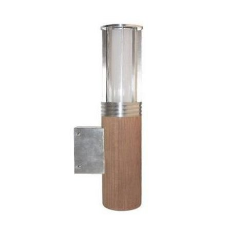 Wandlamp buiten hout 395mm H 155mm Ø E27 inox en teak