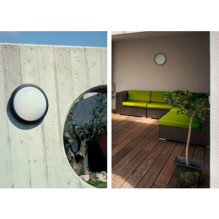 Outdoor ceiling light E27 round white or black 270mm Ø