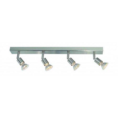 Plafonnier GU10x4 blanc, gris, bronze, support verre 550mm long