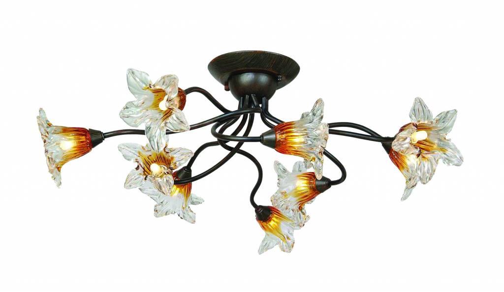 Plafondlamp rugginekleur met 9xG9 28W inbegrepen