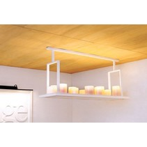Pendant light design LED white, bronze 12 candles 125cm
