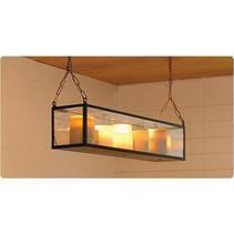 Hanglamp met kaarsen glas brons-nikkel-chroom 9 x LED 1m