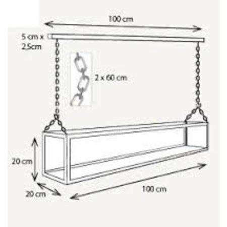 Pendant light glass LED bronze-nickel-chrome 9 candles 1m