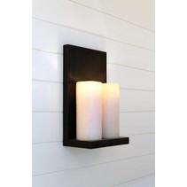 Wandlamp landelijke stijl LED brons-nikkel 2 kaarsen 45cm