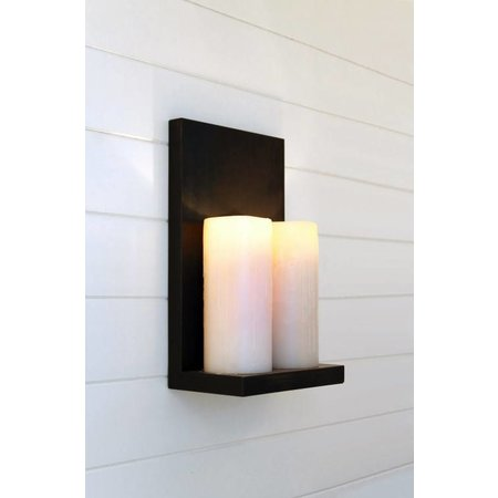 Wall light design LED rustic bronze-chrome-white 2 candles