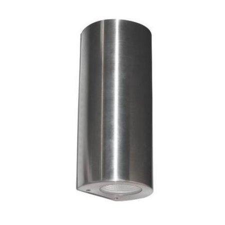 Applique murale exterieure LED cylindrique grise 180mm haut 2x4W