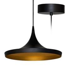 Luminaire suspendu design LED conique noir doré diamètre 200mm 24W