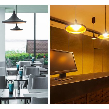 Hanglamp design LED conisch zwart goud 200mm diameter 24W