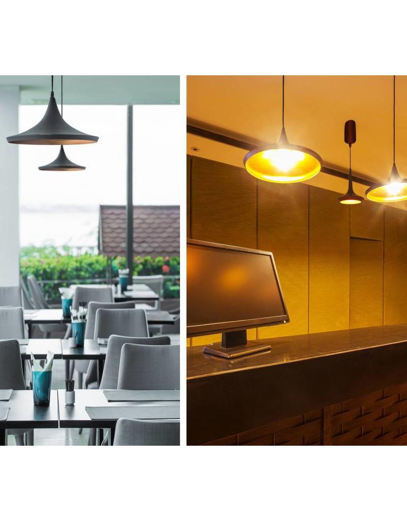 luminaire suspendu design led conique noir dor diam tre 200mm 24w myplanetled. Black Bedroom Furniture Sets. Home Design Ideas