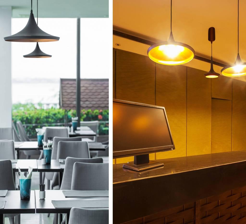 Luminaire suspendu design led conique noir dor diam tre for Luminaire exterieur suspendu