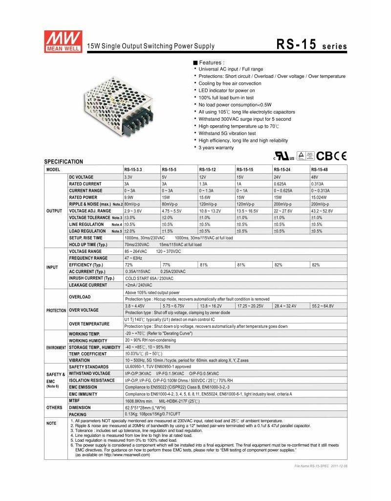 LED driver Meanwell 0-25W