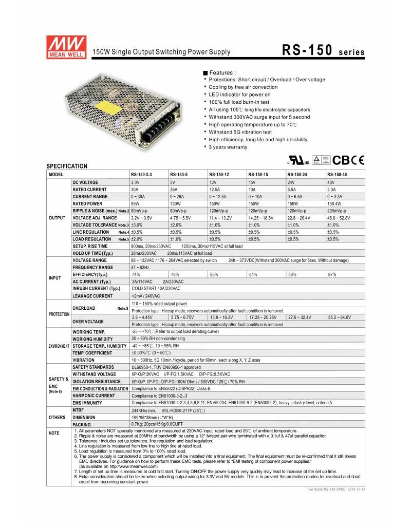 LED driver Meanwell 0-150W