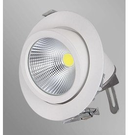 Downlight recessed 15W LED 360° orientable 155mm white