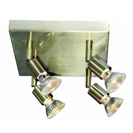 Plafondlamp vierkant GU10x4 wit, grijs, brons, glas 200mm