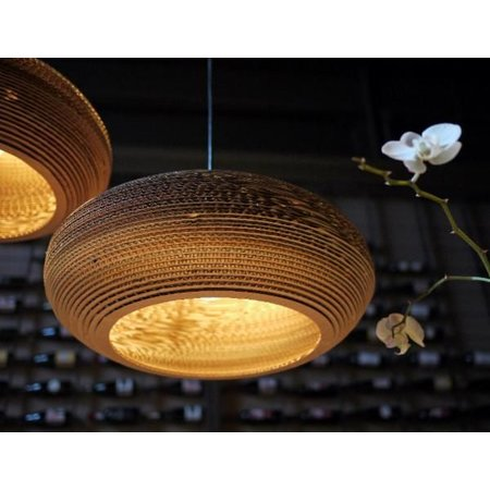 Hanglamp-karton wit of beige design ellips Ø 50cm E27