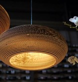 Luminaire suspendu design blanc-beige carton ellipse Ø 60cm