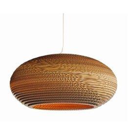 Pendant light design white-beige cardboard ellipse Ø 60cm