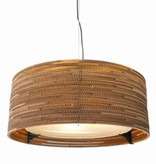 Pendant light design Ø 61cm white or beige round cardboard