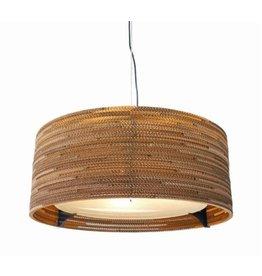 Pendant light design Ø 61cm white or beige round cardboard