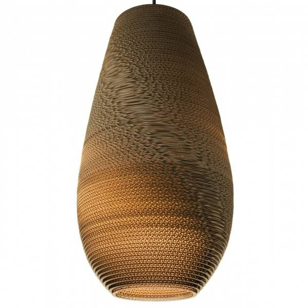 Pendant light design white or beige vase cardboard Ø 25cm