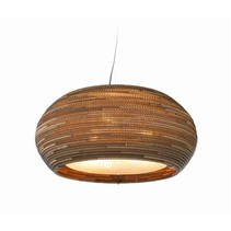 Pendant light design white-beige cardboard ellipse Ø 61cm