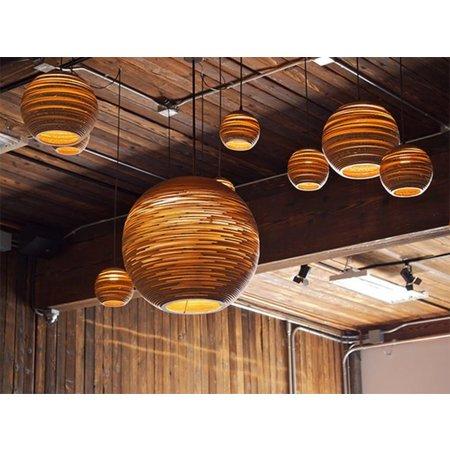 Luminaire suspendu boule design blanc beige carton Ø 82cm