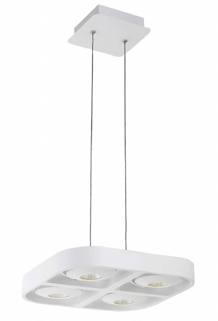 Bedwelming Hanglamp boven eettafel wit design LED 4x5W 302x302mm | Myplanetled @KF02