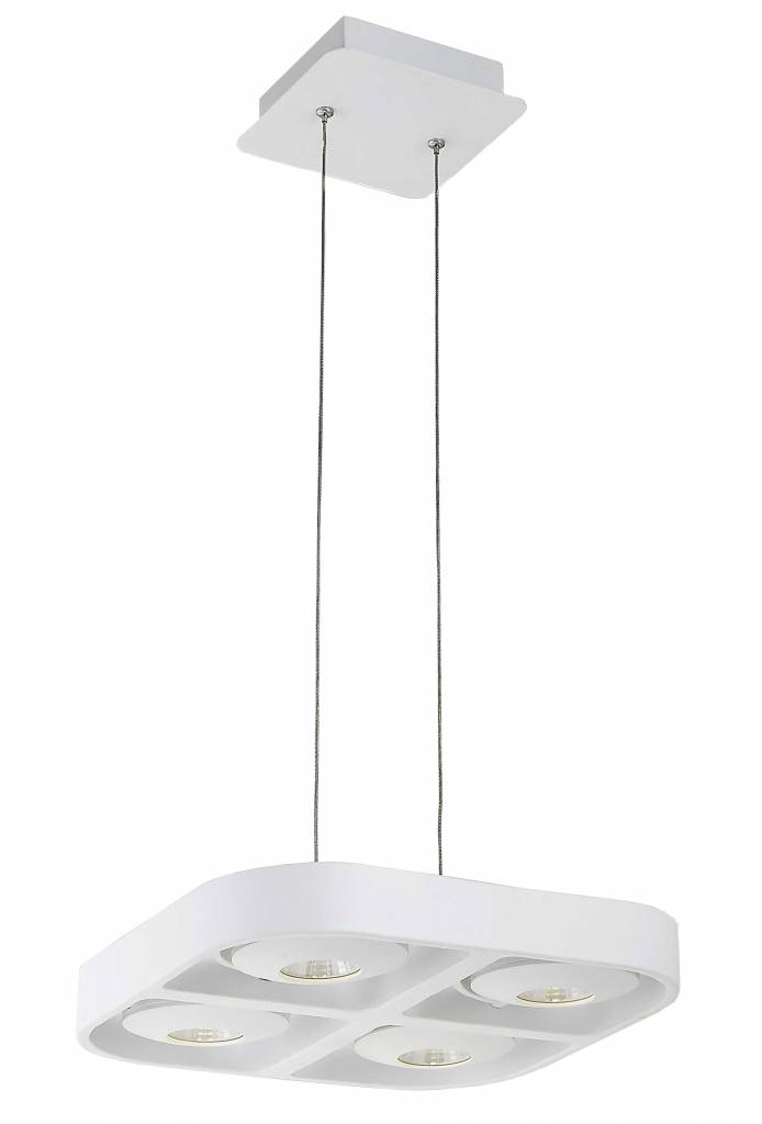 Luminaire suspendu design led blanc carr 4x5w 302x302 for Luminaire blanc