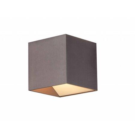 Wandlamp LED vierkant bruin down 11W 106mm hoog