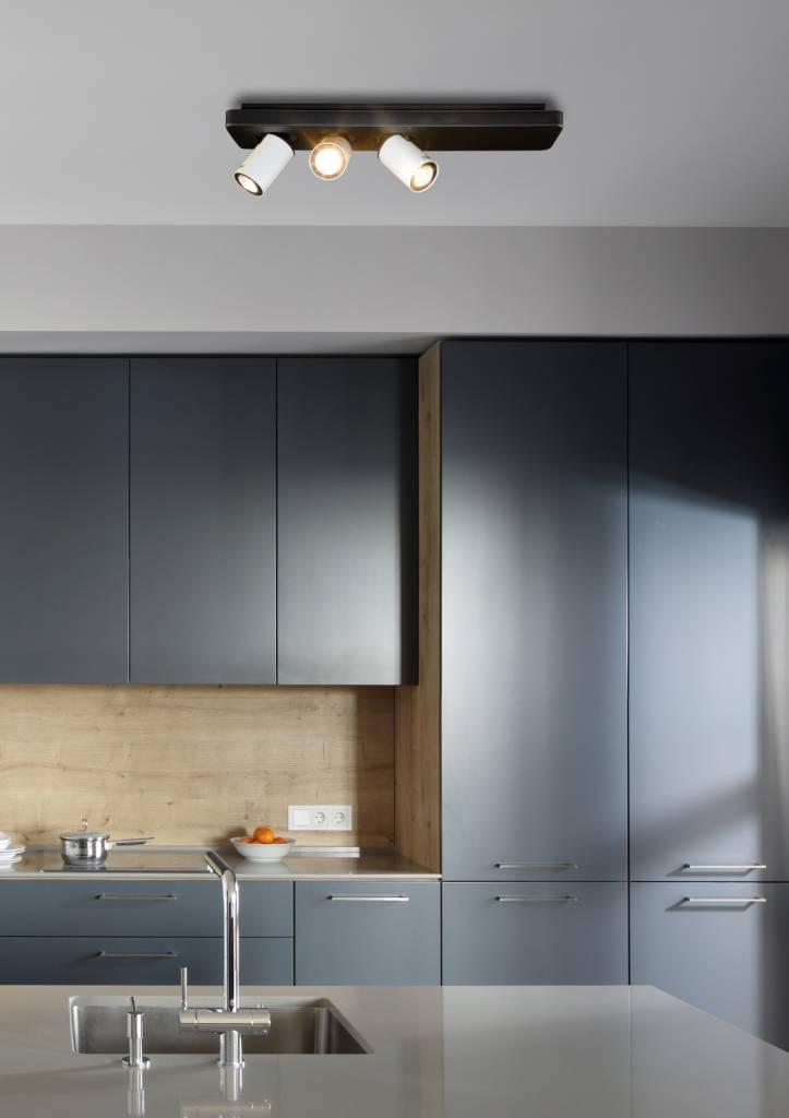 plafonnier led design noir blanc orientable gu10 3x4 5w 500mm large myplanetled. Black Bedroom Furniture Sets. Home Design Ideas