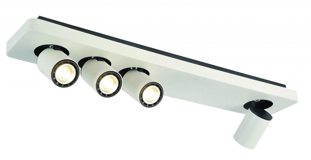 Plafonnier led design noir blanc orientable gu10 4x4 5w for Plafonnier de salle de bain