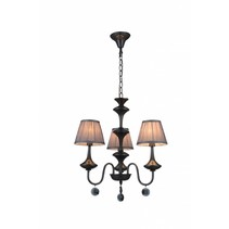 Pendant light chandelier black grey retro 3 lamp shades E14 504mm high