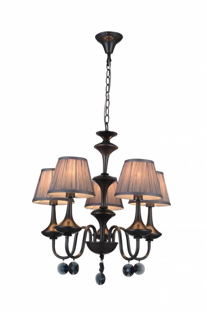 Hanglamp zwart grijs retro 5 lampenkapjes E14 504mm hoog - Myplanetled
