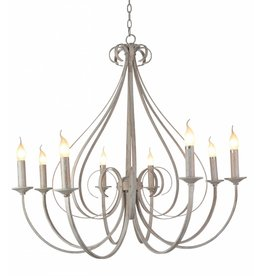 Pendant light chandelier antique white or black 8xE14 835mm high