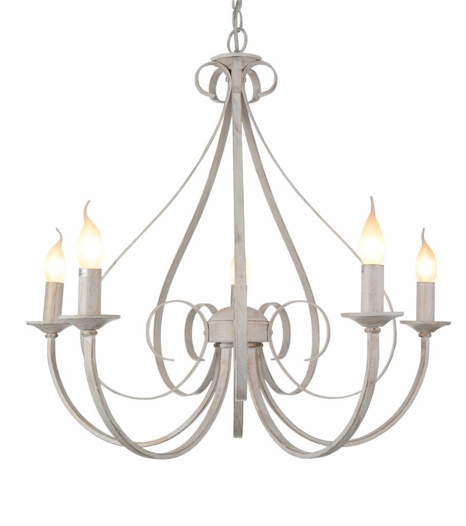 Luminaire suspendu antique blanc ou noir 5xe14 360mm haut for Luminaire suspendu blanc