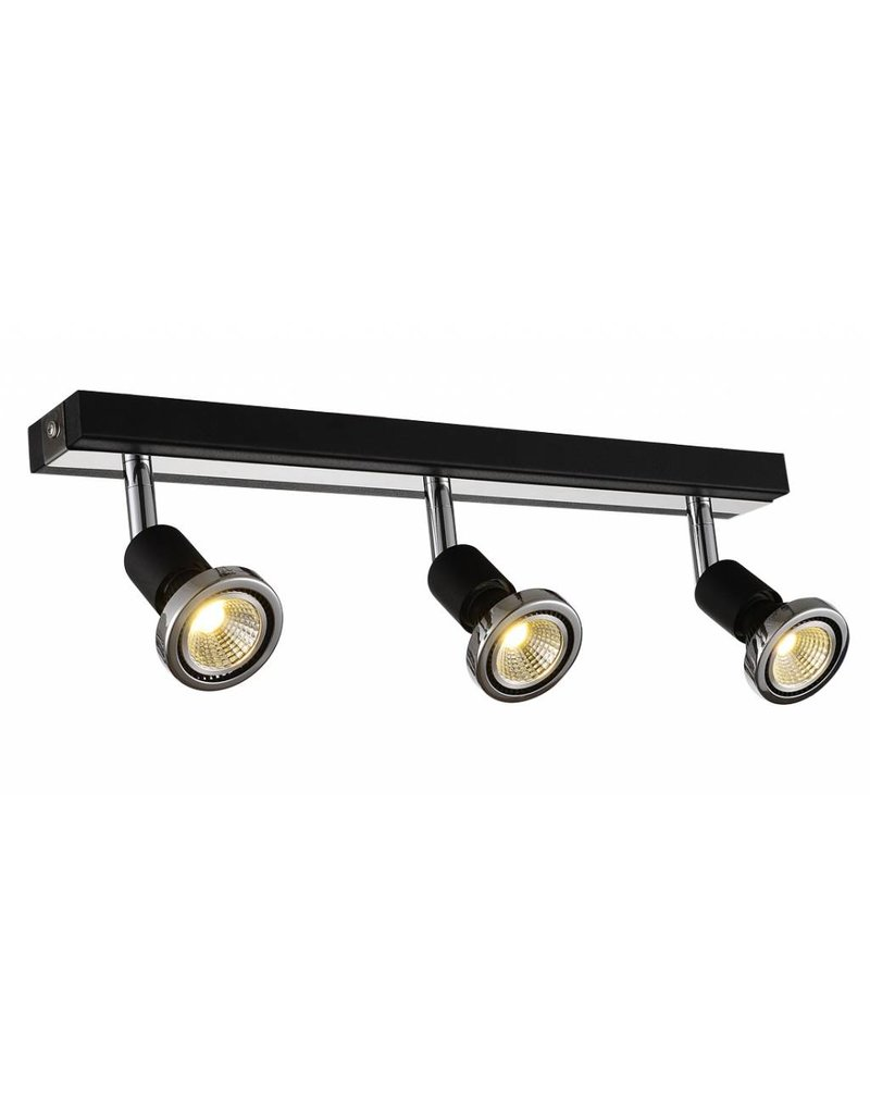 Ceiling light LED white/black/chrome/brushed steel 3xGU10 5W 77m H