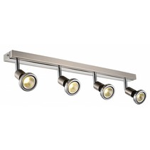 Plafondlamp LED wit/zwart/chroom/geborsteld staal 4xGU10 5W 77mm H