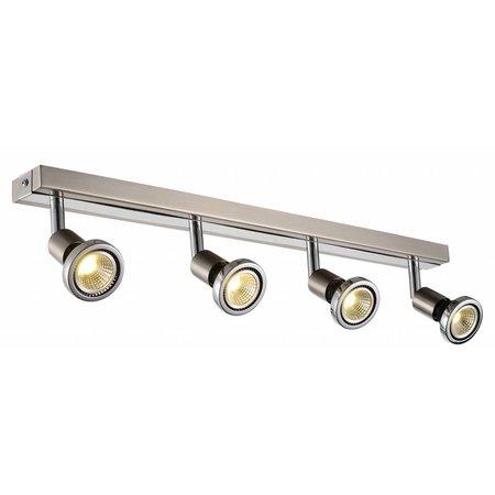 Plafonnier LED blanc/noir/chrome/acier brossé 4xGU10 5W 77mm H