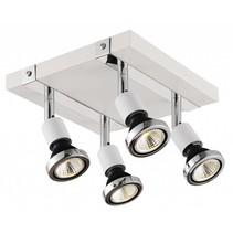 Plafonnier LED carré blanc/noir/chrome/acier brossé 4xGU10 5W