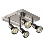 Ceiling light LED square white/black/chrome/brushed steel 4xGU10 5W