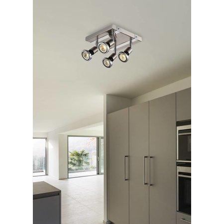 Plafondlamp LED vierkant wit/zwart/chroom/geborsteld staal 4xGU10 5W