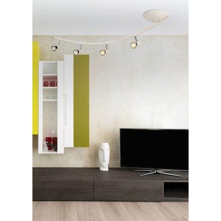 Plafondlamp LED modern wit/zwart/chroom/geborsteld staal 4xGU10 5W